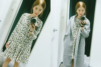 Top two picks from the latest collection. Leopard print dress is P2199, coat is P5429.